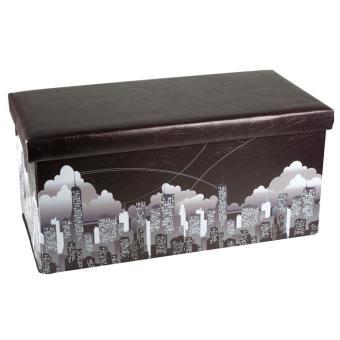 Pouf pliable avec coffre de rangement Modèle New York Fnac.com