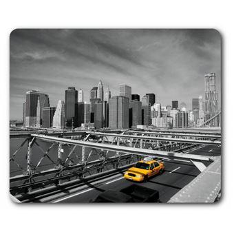 New York Tapis De Souris Taxi Jaune Sur Le Pont De Brooklyn 19x23 Cm Top Prix Fnac