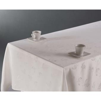 nappe rectangulaire 150 x 300 cm jacquard motif papillons blanc anti taches achat prix. Black Bedroom Furniture Sets. Home Design Ideas