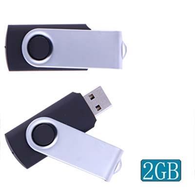 2GB Twister USB2.0 Clé Clef USB (noir)