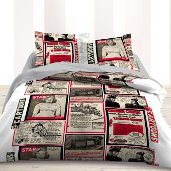 parure de lit usa newspaper 220 cm achat prix fnac. Black Bedroom Furniture Sets. Home Design Ideas