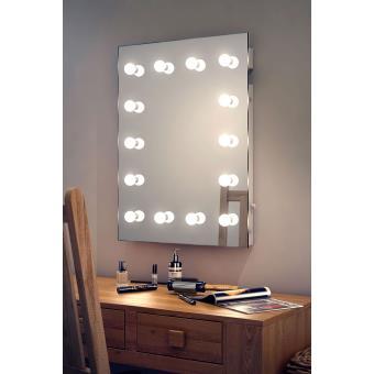 Miroir de maquillage type loge de th tre hollywood k412 for Miroir loge de star