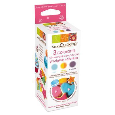 Image du produit Scrapcooking - 3 colorants naturels poudre : bleu/orange/pourpre