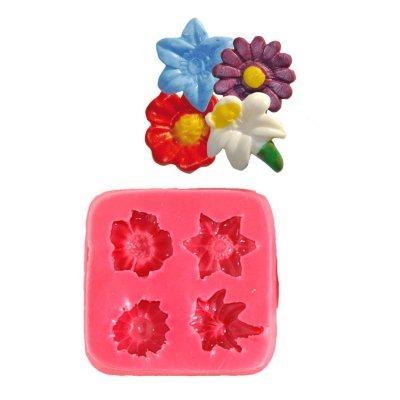 Image du produit ScrapCooking® - Moule en silicone - Moule à pâte à sucre : 4 petites fleurs