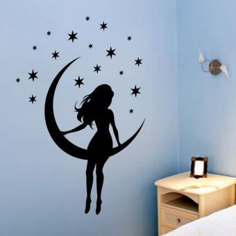 pick and stick sticker mural petite fille sur lune 75 x 55 cm noir achat prix fnac. Black Bedroom Furniture Sets. Home Design Ideas