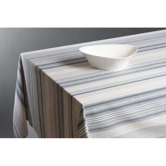 nappe rectangulaire 145 x 240 cm coton enduit rayures grises achat prix fnac. Black Bedroom Furniture Sets. Home Design Ideas
