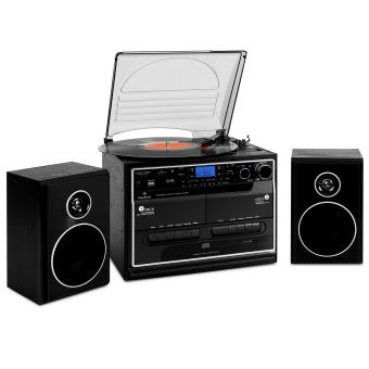 auna 388 bt chaine hifi st r o compl te avec platine vinyle lecteur cd k7 usb sd bluetooth. Black Bedroom Furniture Sets. Home Design Ideas