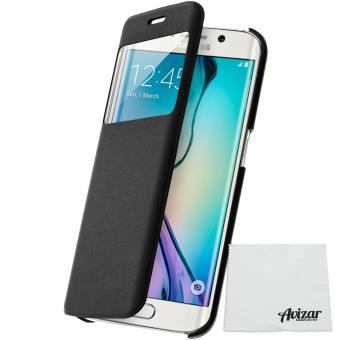 mp Housse Etui Clapet a Fenetre Samsung Galaxy S Edge Noir w