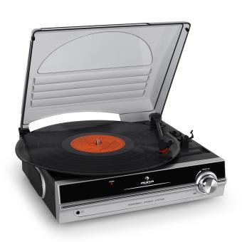 auna platine tourne disque vinyle compacte avec couvercle 2 vitesses 33t 45t haut parleurs. Black Bedroom Furniture Sets. Home Design Ideas