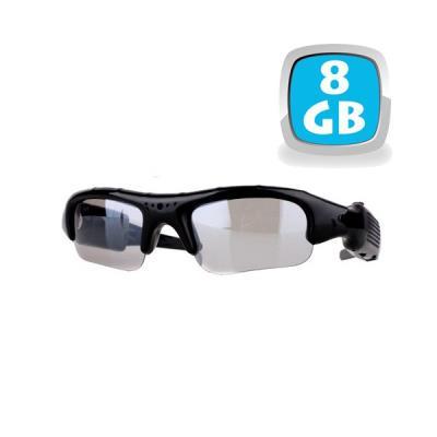 Ces lunettes caméra espion possèdent une mini caméra 8 Go et un microphone incorporé. Elles ont la capacité de prendre des vidéos 640 x 480 pixels, et des photos 1280 x 960 pixels. Une simple pression sur le bouton situé sur une des branches des lunettes