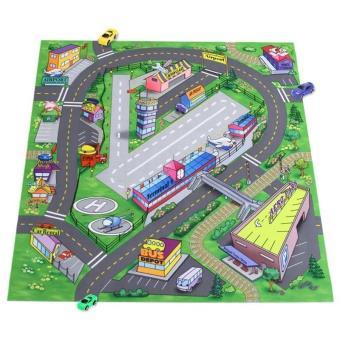 tapis de jeu route pour enfant et 6 petits voitures jeu de. Black Bedroom Furniture Sets. Home Design Ideas