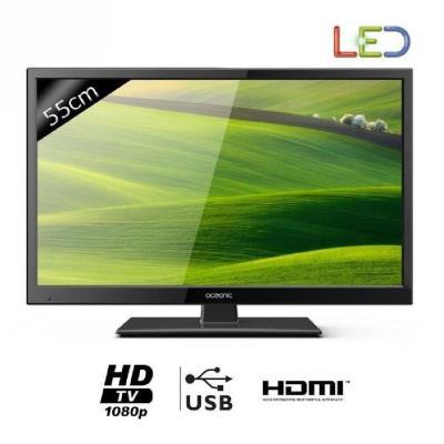 OCEANIC 220116B2 TV LED Full HD 55cm (21,5´) - Coloris noir - Résolution 1920x1080 - Luminosité 250 cd/m2 - Taux de contraste 1000:1 - Tuner TNT MPEG4 intégré - Fréquence de 50Hz - Temps de réponse 6ms - Prise péritel RVB - Prise AV - 1x HDMI - 1x USB - P