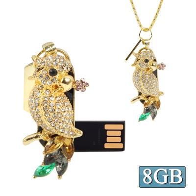 Parrot Shaped Diamond Jewelry Necklace Style USB Clé Clef USB (8GB)