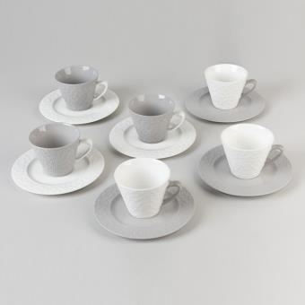 table passion coffret 6 tasses sous tasses cafe bicolore fleurette achat prix fnac. Black Bedroom Furniture Sets. Home Design Ideas