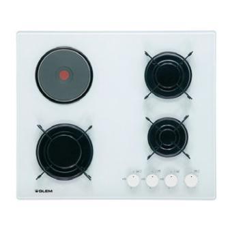 glem table cuisson mixte gaz electrique verre gv647wh blanc achat prix fnac. Black Bedroom Furniture Sets. Home Design Ideas