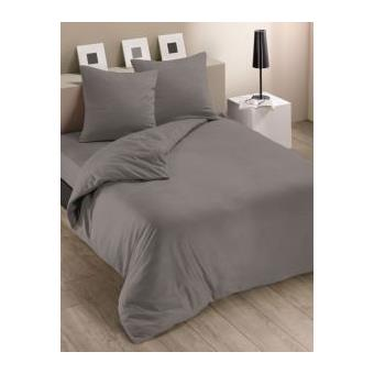housse de couette 220x240 cm polaire couleur gris 2 taies d oreiller 63x63 cm achat prix. Black Bedroom Furniture Sets. Home Design Ideas