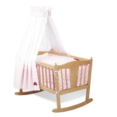 Pinolino - Parure de berceau bébé - 4 pièces - Rose à ronds blancs pour 157€