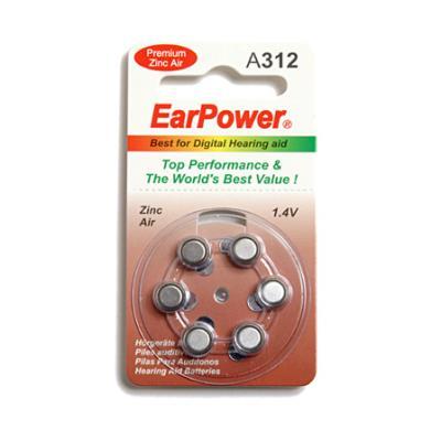 Plaquette de 6 piles pour appareils auditifs sans mercure EarPower taille 312.