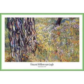 Poster encadr vincent van gogh arbres de pin et pissenlits dans le jardin de l h pital de - Table de jardin plastique vert saint paul ...