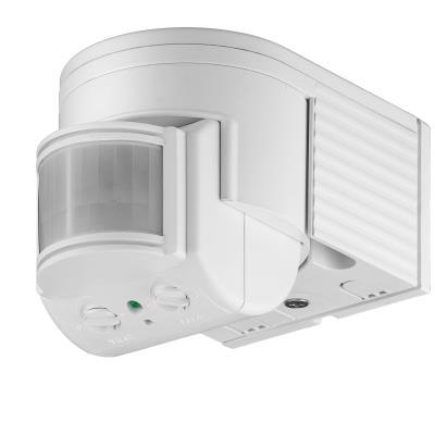 Détecteur de mouvement infrarouge pour fixation murale avec capteur réglable variables. Pour LED et autres illuminant avec une charge de base