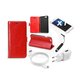 Etui coque flip book cuir pu rouge iphone 6 4 7 chargeur cable achat prix fnac - Chargeur iphone 6 fnac ...