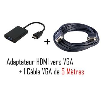 cabling adaptateur convertisseur hdmi vers vga noir cable vga m m 5m achat prix fnac. Black Bedroom Furniture Sets. Home Design Ideas
