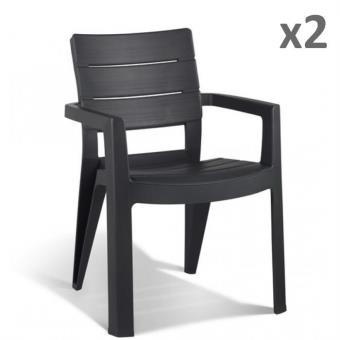 chaise noname 40504022 lot de 2 chaises st tropez anthracite empilable achat prix fnac. Black Bedroom Furniture Sets. Home Design Ideas