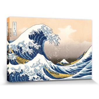 katsushika hokusai poster reproduction sur toile tendue sur ch ssis la grande vague de. Black Bedroom Furniture Sets. Home Design Ideas