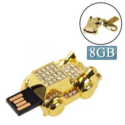 Golden Jalopy Shaped Diamond Jewelry Keychain Style USB Clé Clef USB (8GB)