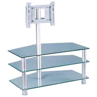 Meuble table tv aluminium verre achat prix fnac for Table tv verre