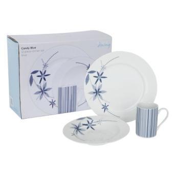 Ethos service de table 12 pi ces bleu fleurs et rayures - Service de table bleu ...