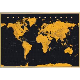poster encadr cartes du monde gold world map 61x91 cm cadre plastique or top prix fnac. Black Bedroom Furniture Sets. Home Design Ideas