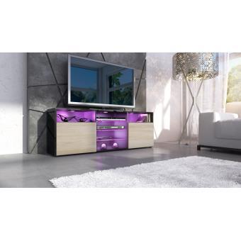 meuble tv noir et champagne avec tag re 146 cm achat prix fnac. Black Bedroom Furniture Sets. Home Design Ideas