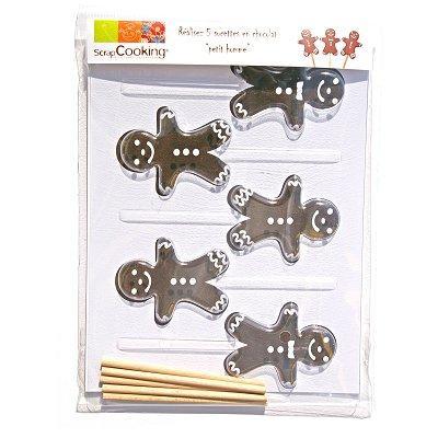 Image du produit ScrapCooking® - Moule à sucettes chocolat - Petit homme d´épices x5