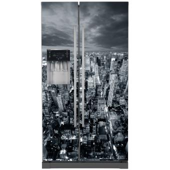 Sticker frigo am ricain new york dimensions 100x180cm d clinaisons fond transparent top - Frigo americain dimension ...