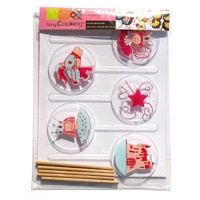Image du produit ScrapCooking® - Moule à sucettes chocolat - Princesse x5