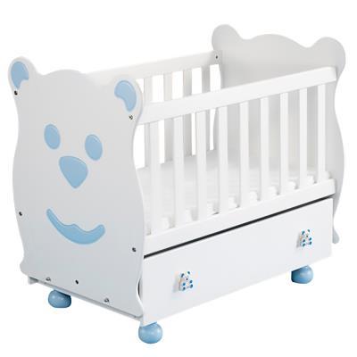 Berceau Panda à barreaux avec balancement et tiroir Bleu pour 259€