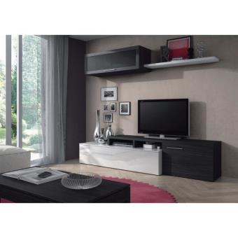 Nexus meuble tv mural 200 cm blanc gris achat prix fnac for Meuble tv mural 240 cm blanc gris adhara