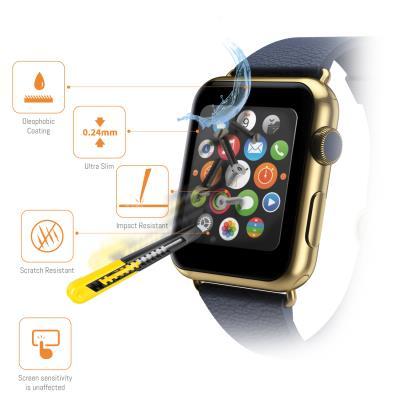 Offrez-vous le meilleur pour préserver l´écran de votre Apple Watch! Fabriqué dans un verre spécialement renforcé, cette protection est conçue résister aux chocs et rayures. La surface de ce film est 5 fois plus résistante que celle du film standard. Aucu