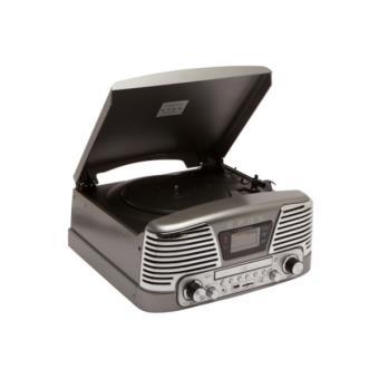platine tourne disques 3 vitesses sd lecteur cd radio encodeur usb 2 0 mp3 gris metallise. Black Bedroom Furniture Sets. Home Design Ideas