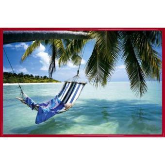 poster encadr plages hamac a l 39 ombre des cocotiers 61x91 cm cadre plastique rouge top. Black Bedroom Furniture Sets. Home Design Ideas