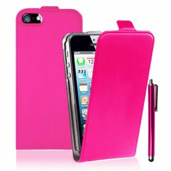 etui cuir pu vrai stylet pour apple iphone 5 5s rose. Black Bedroom Furniture Sets. Home Design Ideas