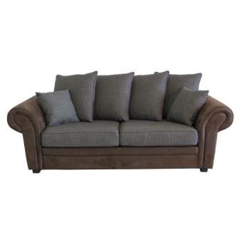 canap fixe 3 places tissu marron et gris wild wes achat prix fnac. Black Bedroom Furniture Sets. Home Design Ideas