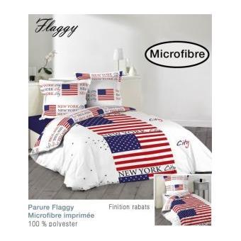 housse de couette 140x200cm 1 taie d oreiller 100 polyester microfibre flaggy achat prix. Black Bedroom Furniture Sets. Home Design Ideas