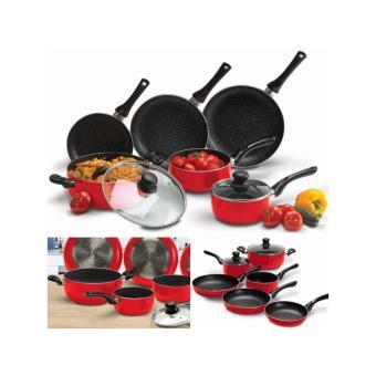 Batterie de cuisine 8 pcs pierre rouge avec casserole - Batterie de cuisine pierre ...