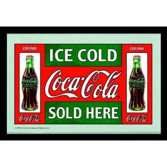 Miroir mural coca cola ice cold qf avec cadre noir en - Cadre photo plastique mural ...