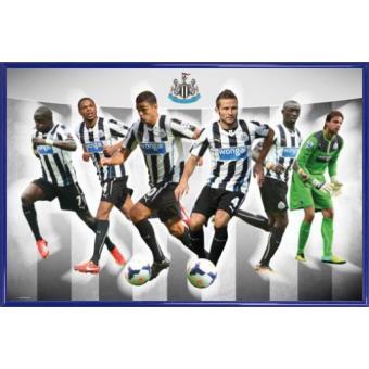 poster encadr football newcastle united players 13 14 61x91 cm cadre plastique bleu. Black Bedroom Furniture Sets. Home Design Ideas