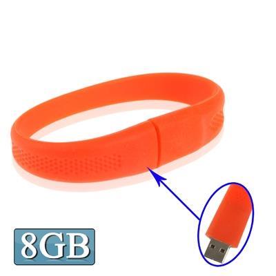 8GB Silicon Bracelets USB 2.0 Clé Clef USB (rouge)