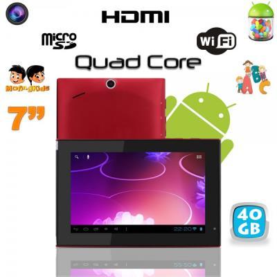 Cette tablette tactile est parfaite pour une utilisation familiale. Puissante, car dotée d´un processeur Quad Core (quatre curs) cadencé à 1.2 GHz couplé à 1 Go de mémoire vive ainsi qu´à Android Jelly Bean 4.1