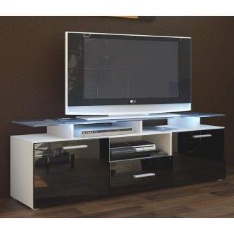 meuble tv 146 x 46 x 35 laqu blanc et noir achat prix fnac. Black Bedroom Furniture Sets. Home Design Ideas